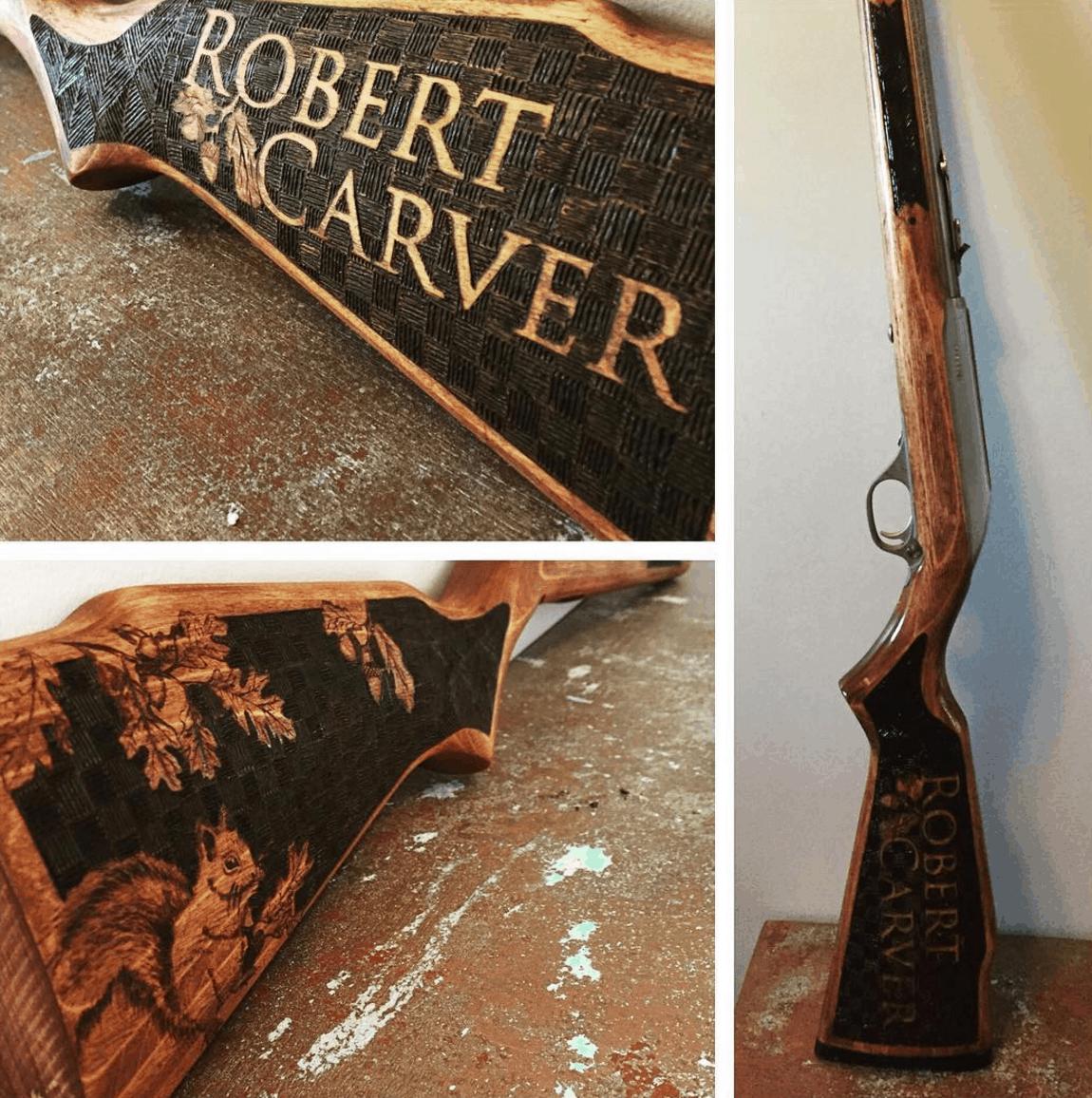 Wood Burned Gun Stock